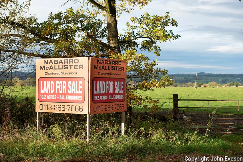 Land for sale sign near Harrogate, North Yorkshire.