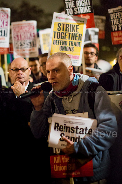 London, 02/11/2015. Today, the Trade Union Co-ordinating Group (TUCG), supported by Right to Strike, Unite the Resistance and the National Shop Stewards Network (NSSN), held a demonstration in Parliament Square to protest against the Government's Trade Union Bill &quot;which will reform the current framework of trade union law&quot; (For a PDF version of the Bill please click here: http://www.publications.parliament.uk/pa/bills/cbill/2015-2016/0058/16058.pdf). The Trade Union Co-ordinating Group includes: Bakers Food and Allied Workers Union (BFAWU), Fire Brigades Union (FBU), Probation and Family Courts (NAPO), National Union of Journalists (NUJ), National Union of Teachers (NUT), Public and Commercial Services Union (PCS), Prison Officers Association (POA), National Union of Rail, Maritime and Transport Workers (RMT), United Road Transport Union (URTU).<br />  <br /> For more information please click here: http://on.fb.me/1HnpfzI &amp; http://bit.ly/1iyLmwH