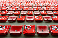 A general view of Toulouse flags draped over seats at the Stade Ernest Wallon. Heineken Champions Cup match, between Stade Toulousain and Bath Rugby on January 20, 2019 at the Stade Ernest Wallon in Toulouse, France. Photo by: Patrick Khachfe / Onside Images