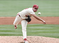 NWA Democrat-Gazette/CHARLIE KAIJO Arkansas Razorbacks Kole Ramage (28) throws a pitch during game two of the College Baseball Super Regional, Sunday, June 9, 2019 at Baum-Walker Stadium in Fayetteville. Ole Miss forces a game three with a 13-5 win over the Razorbacks