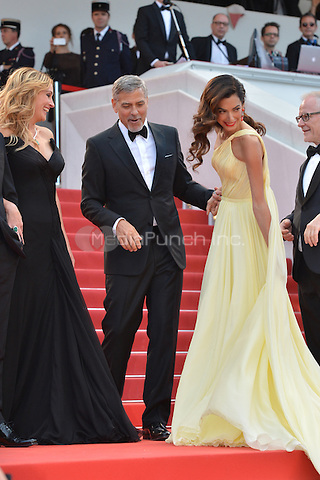 Julia Roberts, George Clooney and his wife Amal at the &yen;Money Monster` screening during The 69th Annual Cannes Film Festival on May 12, 2016 in Cannes, France.<br /> CAP/LAF<br /> &copy;Lafitte/Capital Pictures /MediaPunch ***NORTH AND SOUTH AMERICA ONLY***
