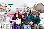 Aoife O'Shea, Kyle O'Sullivan, Kayden Ward O'Brien, Ella O'Sullivan and Damien McCarthy enjoying the snow on Friday in Shanakill.
