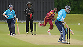 IIC T20 World Cup warm up match - Scotland V West Indies, at the John Paul Getty Oval, in the grounds of Wormsley Estate, Buckinghamshire - Windies David Barnard bowls to Scotlands Colin Smith, past veteran umpire Steve Bucknor and scots bat Fraser Watts - Picture by Donald MacLeod - 28 May 2009