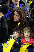 Fans wait for autographs during the Super Rugby match between the Hurricanes and Blues at Westpac Stadium, Wellington, New Zealand on Saturday, 2 July 2016. Photo: Dave Lintott / lintottphoto.co.nz
