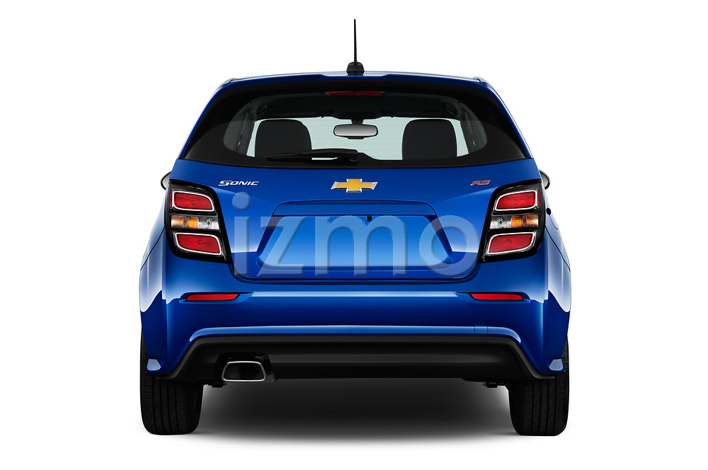 Straight rear view of a 2019 Chevrolet Sonic LT RS Select Doors Door Hatchback stock images