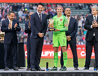 CARSON, CA - FEBRUARY 9: Stephanie Labbe #1 of Canada receives the golden glove during a game between Canada and USWNT at Dignity Health Sports Park on February 9, 2020 in Carson, California.