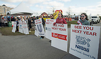 NWA Democrat-Gazette/BEN GOFF @NWABENGOFF<br /> Area outstanding teen title holders greet walkers at the finish line Saturday, April 14, 2018, during the American Heart Association's annual Northwest Arkansas Heart Walk at the Walmart AMP in Rogers.