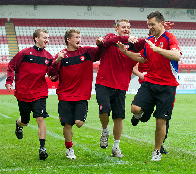 Tomas Cerny turns up for training in a Czech Republic top to noise up his Hamilton team-mates as Scotland lose out to the Czechs in Euro 2012 Qualifying