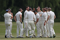 Bentley celebrate the wicket of Jas Hothi during Bentley CC (Bowling) vs Rainham CC, T Rippon Mid Essex Cricket League Cricket at Coxtie Green Road on 9th June 2018