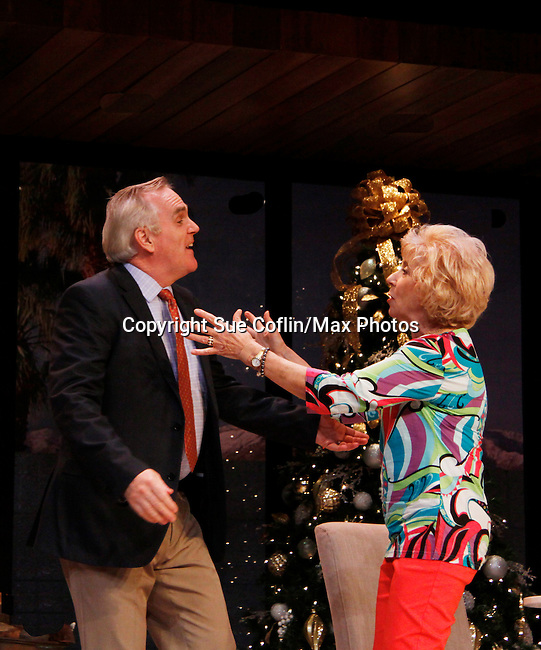 "Peggy J. Scott and Malachy Cleary in ""Other Desert Cities"" at the tech rehearsal (in costume) on October 14, 2015 at Whippoorwill Halll Theatre, North Castle Library, Kent Place, Armonk, New York.  (Photo by Sue Coflin/Max Photos)"