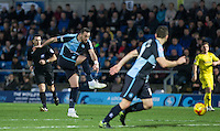 Paul Hayes of Wycombe Wanderers hits a shot at goal during the Sky Bet League 2 match between Wycombe Wanderers and Oxford United at Adams Park, High Wycombe, England on 19 December 2015. Photo by Andy Rowland.