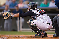 Catcher Danny Jordan (39) of the Kannapolis Intimidators on defense versus the Lake County Captains at Fieldcrest Cannon Stadium in Kannapolis, NC, Saturday, April 26, 2008.