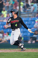 Tate Blackman (4) of the Great Falls Voyagers follows through on his swing against the Helena Brewers at Centene Stadium on August 18, 2017 in Helena, Montana.  The Voyagers defeated the Brewers 10-7.  (Brian Westerholt/Four Seam Images)