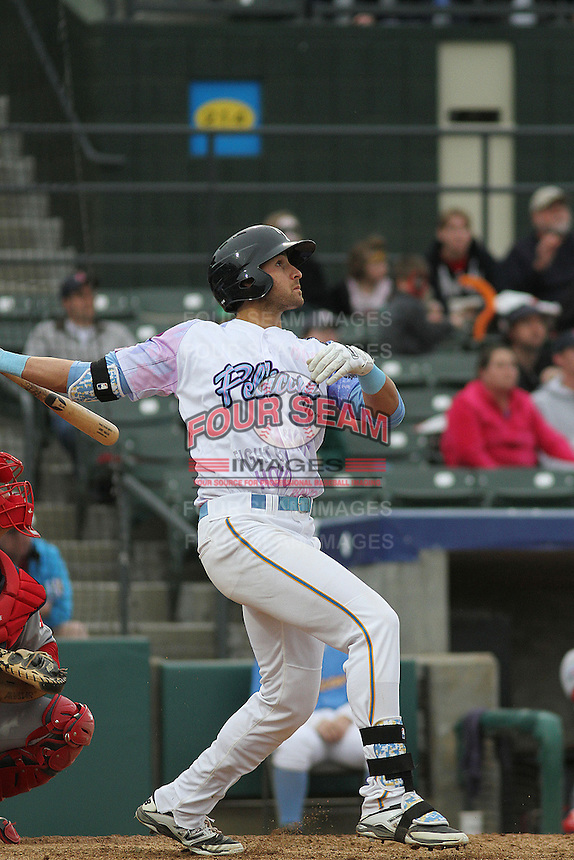 Myrtle Beach Pelicans third baseman Joey Gallo #14 at bat during a game against the Salem Red Sox at Ticketreturn.com Field at Pelicans Ballpark on April 6, 2014 in Myrtle Beach, South Carolina. Salem defeated Myrtle Beach 3-0. (Robert Gurganus/Four Seam Images)