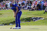 Haydn Porteous (RSA) putts on the 18th green during Sunday's Final Round 4 of the 2018 Omega European Masters, held at the Golf Club Crans-Sur-Sierre, Crans Montana, Switzerland. 9th September 2018.<br /> Picture: Eoin Clarke | Golffile<br /> <br /> <br /> All photos usage must carry mandatory copyright credit (© Golffile | Eoin Clarke)