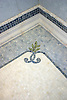 Custom Scroll stone mosaic bath mosaic rug and chair rail border in Renaissance Bronze, Ivory Cream, Celeste, Blue Macauba