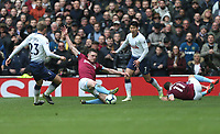 West Ham United's Declan Rice challenges Tottenham Hotspur's Christian Eriksen and Son Heung-Min<br /> <br /> Photographer Rob Newell/CameraSport<br /> <br /> The Premier League - Tottenham Hotspur v West Ham United - Saturday 27th April 2019 - White Hart Lane - London<br /> <br /> World Copyright © 2019 CameraSport. All rights reserved. 43 Linden Ave. Countesthorpe. Leicester. England. LE8 5PG - Tel: +44 (0) 116 277 4147 - admin@camerasport.com - www.camerasport.com