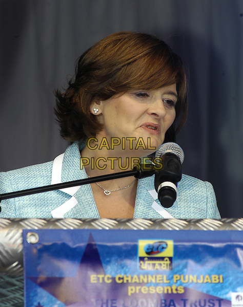 CHERIE BLAIR.The Loomba Trust Bollywood Concert to mark International Widows Day, in Trafalgar Square, London, England, .June 23rd 2006..portrait headshot blue suit jacket speaking funny.Ref: IA.www.capitalpictures.com.sales@capitalpictures.com.©Ian Allis/Capital Pictures