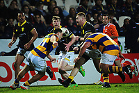 Regan Verney passes to Andrew Wells during the Mitre 10 Cup rugby union match between Bay of Plenty and Wellington at Rotorua International Stadium in Rotorua, New Zealand on Thursday, 31 August 2017. Photo: Dave Lintott / lintottphoto.co.nz