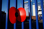 5th November 2017, Goodison Park, Liverpool, England; EPL Premier League Football, Everton versus Watford; A red poppy emblem tied to the outside fencing at Goodison Park to mark next weekend's Remembrance Day events