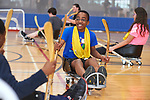 Paralympic medallist and Pyeong Chang 2018 Chef de Mission Todd Nicholson tries out Para sport with students ftom the West Lynde Public School during Paralympic Schools Week at the Abilities Centre in Whitby Ontario April 26, 2017.