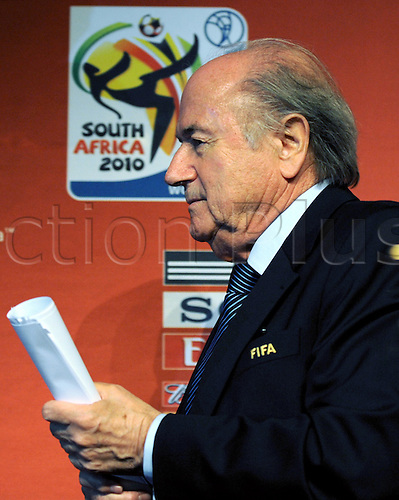 02 December 2009. Joseph Blatter, President of the International Federation of Association Football (FIFA),walks off the podium after a press conference in Cape Town, South Africa, 02 December 2009. The groups for the World Cup 2010 will be drawn in Cape Town on 04 December 2009.
