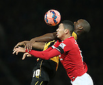 Tom Elliot of Cambridge Utd challenges Chris Smalling of Manchester United- FA Cup Fourth Round replay - Manchester Utd  vs Cambridge Utd - Old Trafford Stadium  - Manchester - England - 03rd February 2015 - Picture Simon Bellis/Sportimage