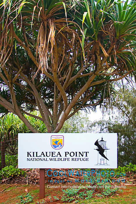 Kilauea Point National Wildlife Refuge sign, Kauai, Hawaii, Pacific Ocean