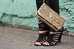 Black Shoes Gold Sequins