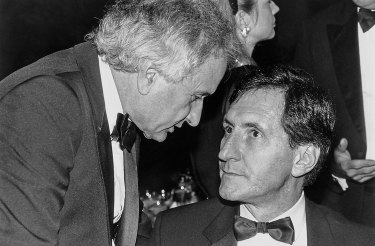 Rep. Robert J. Mrazek, D-N.Y. with Rep. Sander Levin, D-Mich. at Democratic National Convention Gala at Sheraton Hotel on Sept. 26, 1991. (Photo by Maureen Keating/CQ Roll Call)