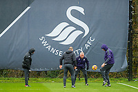 Claude Makelele, Swansea Fitness coach, Karl Halabi, Swansea City Assistant manager, Nigel Gibbs and Manager Paul Clement play football during the Swansea City training session at The Fairwood training Ground, Swansea, Wales, UK. Friday 03 February 2017