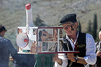 Pictured: A man with a penis-shaped camera during the Bourani celebrations in Tirnavos, central Greece. Monday 11 March 2019<br /> Re: Bourani (or Burani) the infamous annual carnival which dates to 1898 which takes place on the day of (Clean Monday), the first days of Lent in Tirnavos, central Greece, in which men hold phallus shaped objects as scepters in their hands.