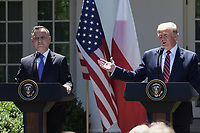 Washington, DC - June 12, 2019: U.S. President Donald Trump and the President of Republic of Poland Andrzej Duda hold a press conference  in the Rose Garden at White House, June 12, 2019.  (Photo by Lenin Nolly/Media Images International)