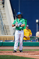 Hartford Yard Goats first baseman Brian Mundell (15) at bat during a game against the Trenton Thunder on August 26, 2018 at Dunkin' Donuts Park in Hartford, Connecticut.  Trenton defeated Hartford 8-3.  (Mike Janes/Four Seam Images)