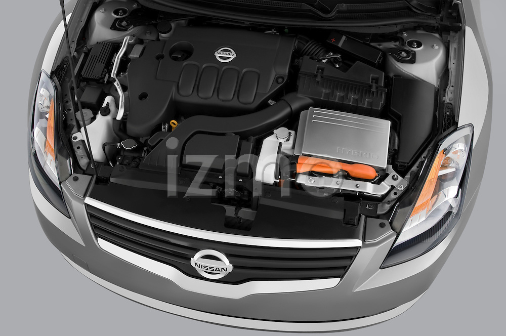 High angle engine detail of a 2009 Nissan Altima Hybrid.