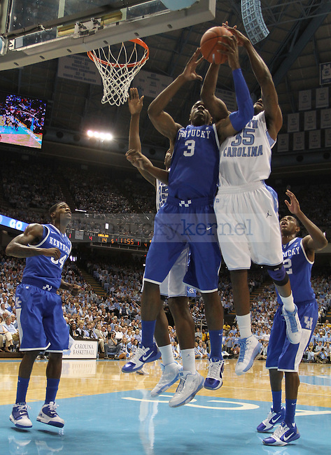 Terrence Jones and North Carolina's Reggie Bullock during the game on Dec. 4, 2010 at the Dean Smith Center.  Photo by Latara Appleby | Staff