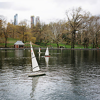 Model sailboats float on the Conservatory Water pond in New York's Central Park on Monday, April 30, 2018. (Photo by James Brosher)