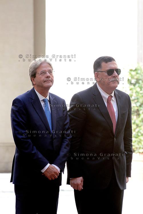 Roma, 26 Luglio 2017<br /> Il primo ministro Paolo Gentiloni e il primo ministro libico Fayez al-Sarraj a Palazzo Chigi