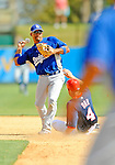 15 March 2008: Los Angeles Dodgers' shortstop Rafael Furcal gets Pete Orr out at second but is unable to turn the double play during a Spring Training game against the Washington Nationals at Space Coast Stadium, in Viera, Florida...Mandatory Photo Credit: Ed Wolfstein Photo
