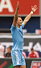 Frederic Brillant #13 of NYC Football Club reacts after his team's 2-o win over the New York Red Bulls in a Major League Soccer match at Yankee Stadium on Sunday, July 3, 2016.