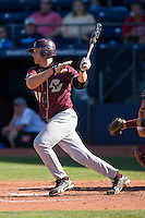 Mike Belfiore #24 of the Boston College Eagles follows through on his swing versus the Florida State Seminoles at Durham Bulls Athletic Park May 20, 2009 in Durham, North Carolina. (Photo by Brian Westerholt / Four Seam Images)