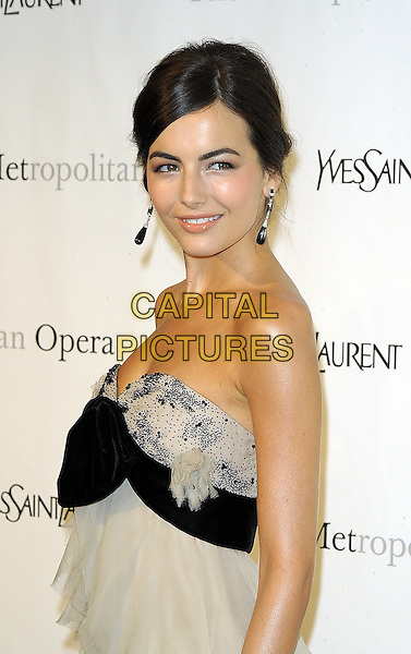 "CAMILLA BELLE .The Metropolitan Opera Gala Premiere of ""Armida"" at the Metropolitan Opera House at Lincoln Center,  New York, NY, USA, 12th April 2010..half length strapless black grey gray of white dress gown ruffles ruffle tiered layered bow hair up smiling earrings dangly  cream .CAP/ADM/BM.©Bill Menzel/AdMedia/Capital Pictures."