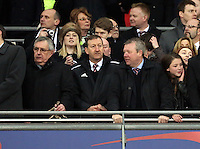 Pictured: Swansea City FC chairman Huw Jenkins (C) with board member Martin Morgan (R) on the stadium balcony. Sunday 24 February 2013<br /> Re: Capital One Cup football final, Swansea v Bradford at the Wembley Stadium in London.