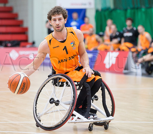 03.07.2016. Leicester Sports Arena, Leicester, England. Continental Clash Wheelchair Basketball Holland versus Australia. Robin Poggenwisch (NLD) dribbles the ball