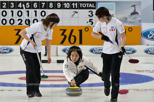 Satsuki Fujisawa (JPN), MARCH 19, 2013 - Curling : World Women's Curling Championship 2013 Round Robin match between Italy 4-6 Japan at Volvo Sport Center in Riga, Latvia. (Photo by Enrico Calderoni/AFLO SPORT) [0391]
