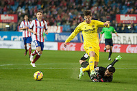 Atletico de Madrid´s Miguel Angel Moya and Villarreal´s Luciano Dario Vietto during 2014-15 La Liga match between Atletico de Madrid and Villarreal at Vicente Calderon stadium in Madrid, Spain. December 14, 2014. (ALTERPHOTOS/Luis Fernandez) /NortePhoto