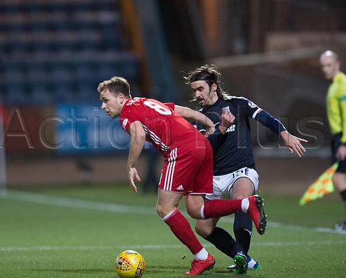 8th December 2017, Dens Park, Dundee, Scotland; Scottish Premier League football, Dundee versus Aberdeen; Aberdeen's Greg Stewart and Dundee's Jon Aurtenetxe tussle