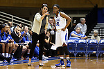 05 November 2015: Duke head coach Joanne P. McCallie (left) with Kyra Lambert (15). The Duke University Blue Devils hosted the Pfeiffer University Falcons at Cameron Indoor Stadium in Durham, North Carolina in a 2015-16 NCAA Women's Basketball Exhibition game. Duke won the game 113-36.