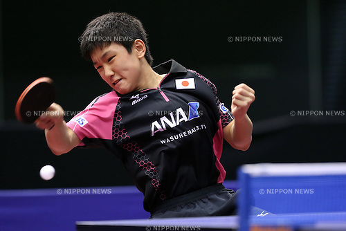 Tomokazu Harimoto (JPN), <br /> JUNE 16, 2016 - Table Tennis : <br /> ITTF World Tour, Japan Open 2016 <br /> men's singles qualifying round match <br /> at Tokyo Metropolitan Gymnasium, Tokyo, Japan. <br /> (Photo by AFLO SPORT)