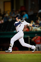 Bowling Green Hot Rods first baseman Justin Bridgman (3) follows through on a swing during a game against the Peoria Chiefs on September 15, 2018 at Bowling Green Ballpark in Bowling Green, Kentucky.  Bowling Green defeated Peoria 6-1.  (Mike Janes/Four Seam Images)